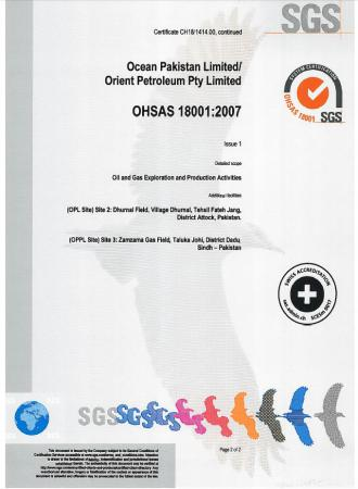 OHSAS 18001 Certificate (page2)